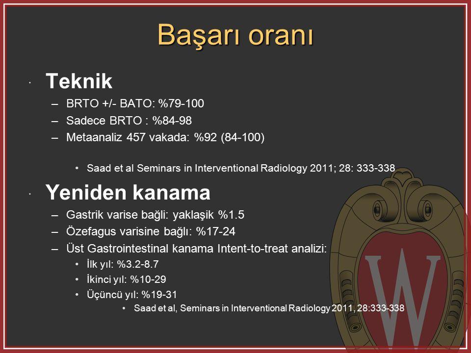 Başarı oranı Teknik Yeniden kanama BRTO +/- BATO: %79-100