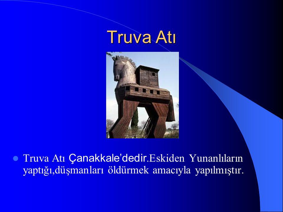 Truva Atı Truva Atı Çanakkale'dedir.Eskiden Yunanlıların yaptığı,düşmanları öldürmek amacıyla yapılmıştır.