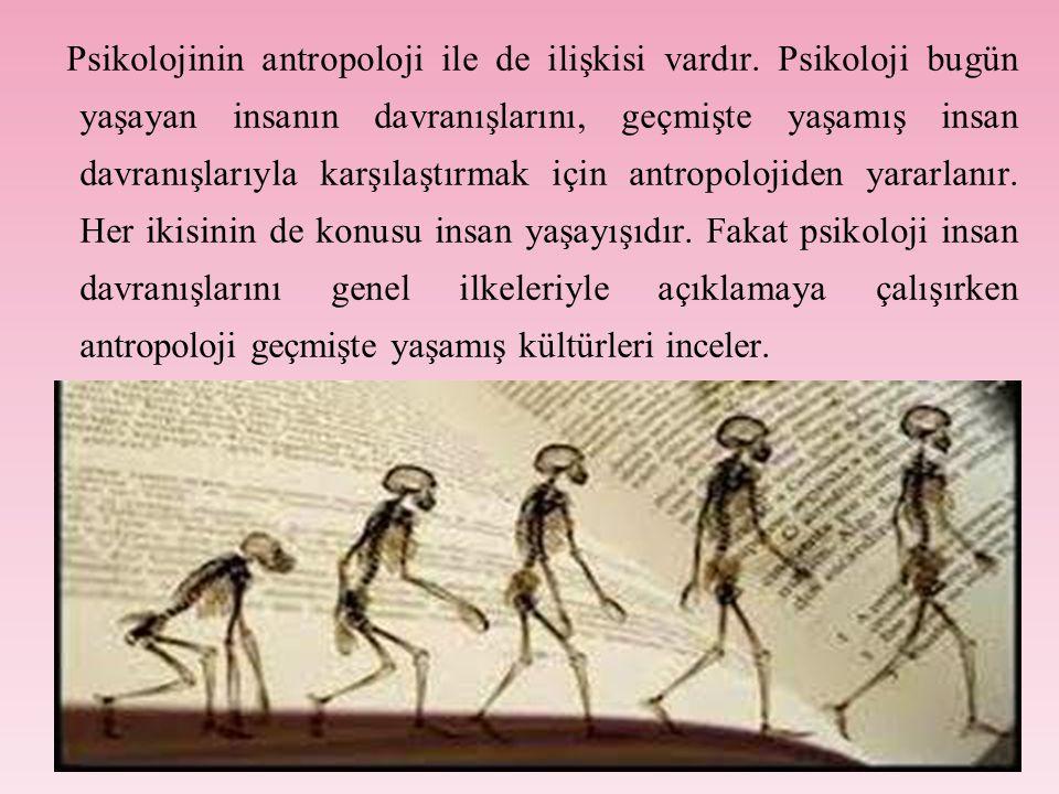Psikolojinin antropoloji ile de ilişkisi vardır