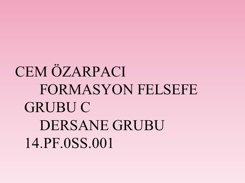CEM ÖZARPACI FORMASYON FELSEFE GRUBU C