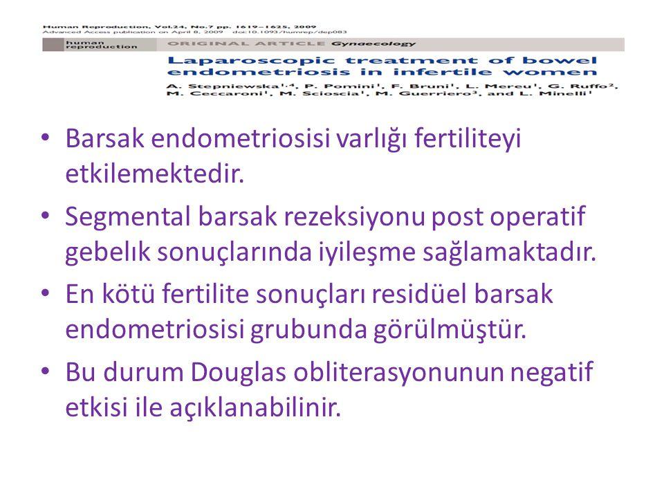 Barsak endometriosisi varlığı fertiliteyi etkilemektedir.