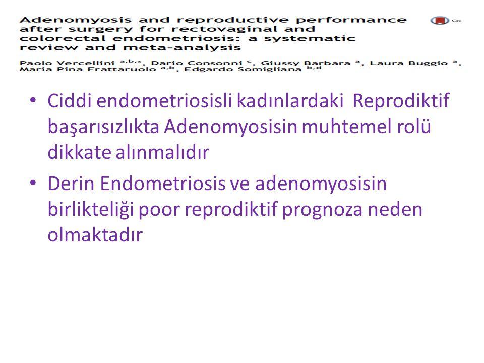 Ciddi endometriosisli kadınlardaki Reprodiktif başarısızlıkta Adenomyosisin muhtemel rolü dikkate alınmalıdır