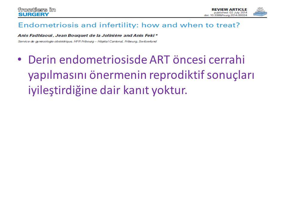 Derin endometriosisde ART öncesi cerrahi yapılmasını önermenin reprodiktif sonuçları iyileştirdiğine dair kanıt yoktur.