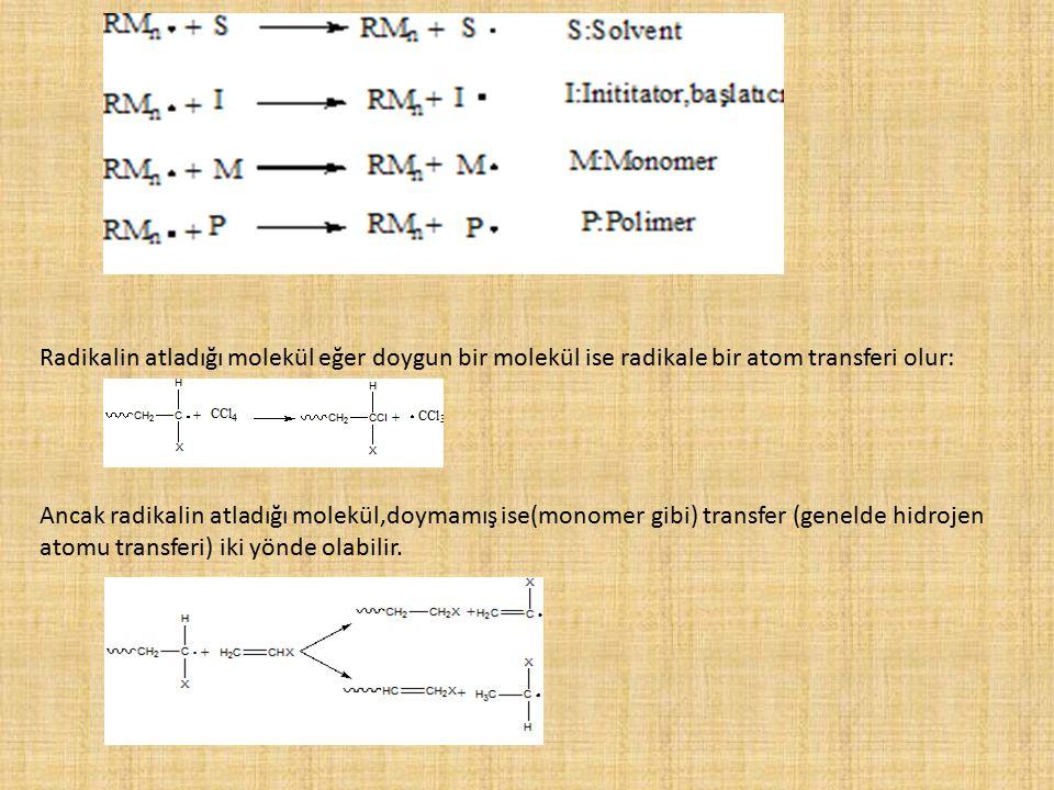 Radikalin atladığı molekül eğer doygun bir molekül ise radikale bir atom transferi olur: