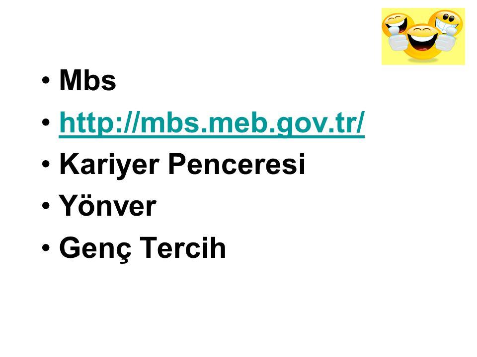 Mbs http://mbs.meb.gov.tr/ Kariyer Penceresi Yönver Genç Tercih