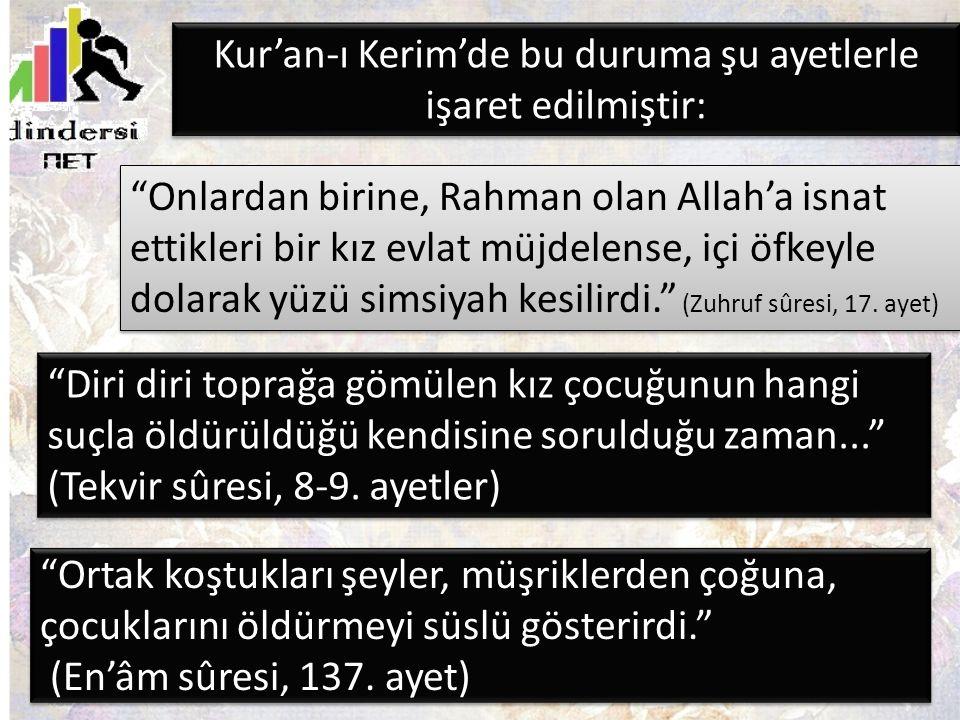 Kur'an-ı Kerim'de bu duruma şu ayetlerle işaret edilmiştir: