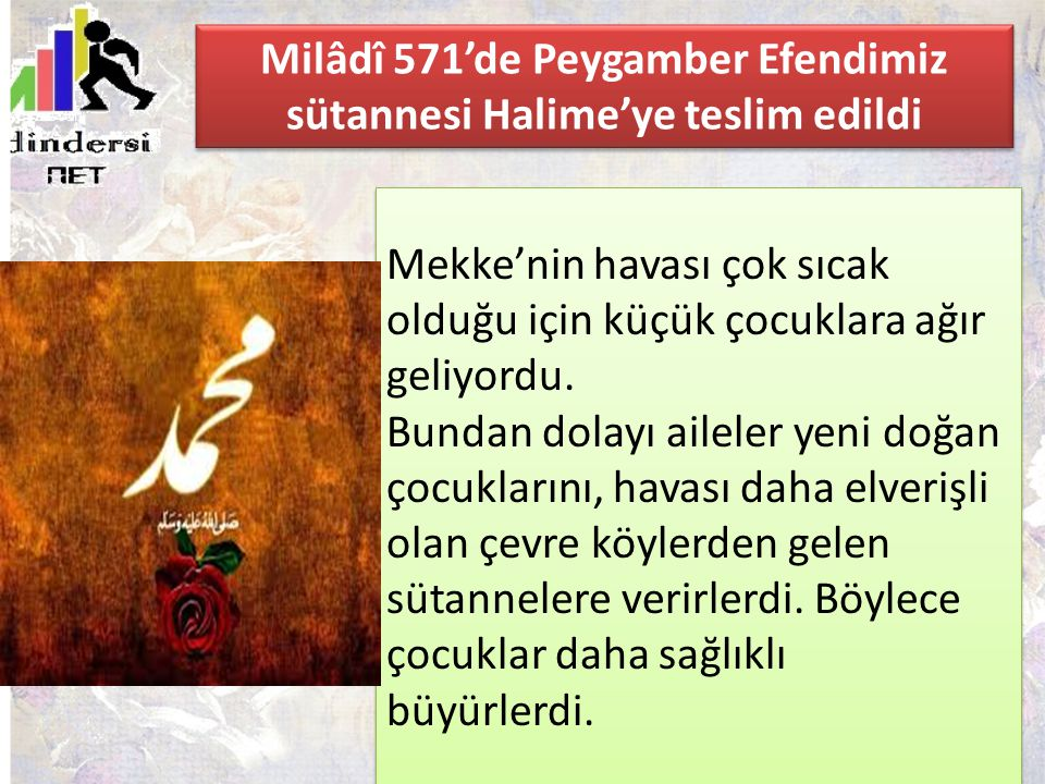 Milâdî 571'de Peygamber Efendimiz sütannesi Halime'ye teslim edildi