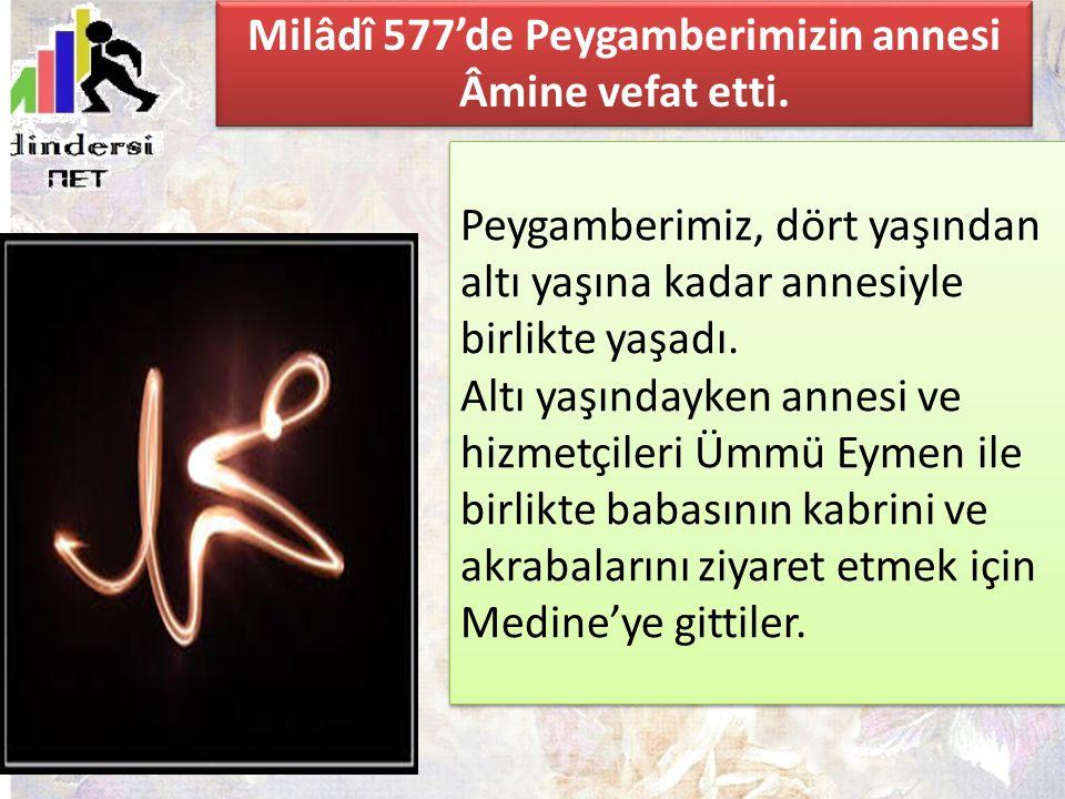 Milâdî 577'de Peygamberimizin annesi Âmine vefat etti.