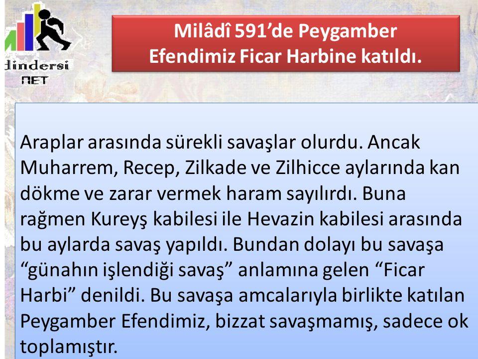 Milâdî 591'de Peygamber Efendimiz Ficar Harbine katıldı.