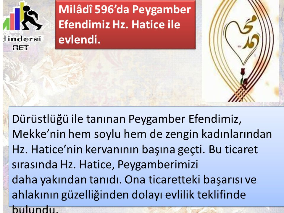 Milâdî 596'da Peygamber Efendimiz Hz. Hatice ile evlendi.