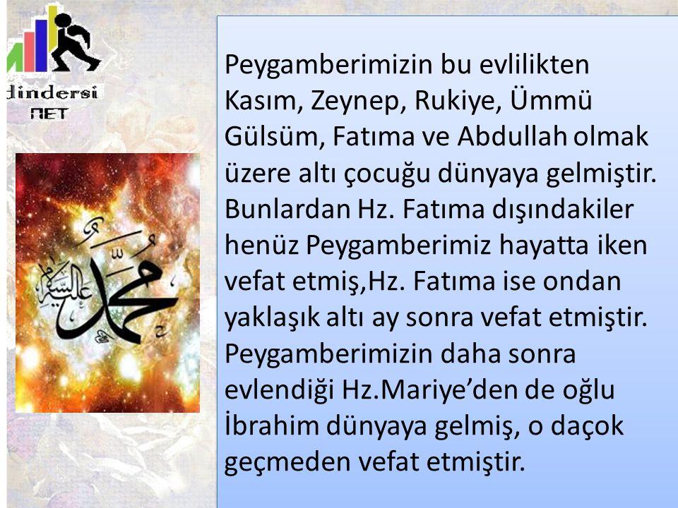 Peygamberimizin bu evlilikten Kasım, Zeynep, Rukiye, Ümmü Gülsüm, Fatıma ve Abdullah olmak üzere altı çocuğu dünyaya gelmiştir.