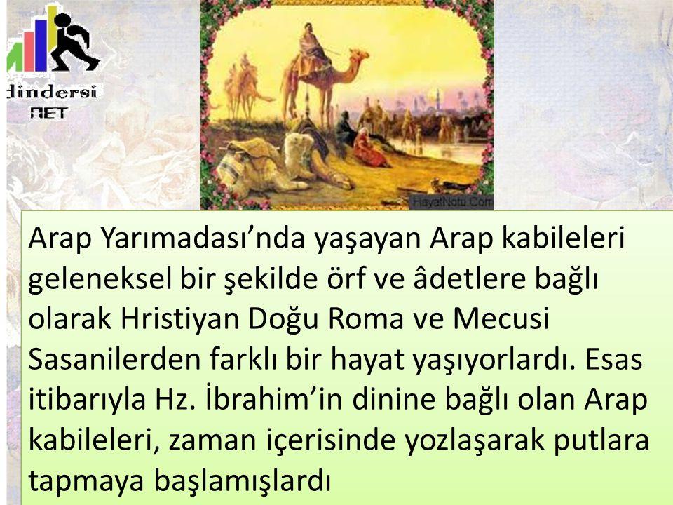 Arap Yarımadası'nda yaşayan Arap kabileleri geleneksel bir şekilde örf ve âdetlere bağlı olarak Hristiyan Doğu Roma ve Mecusi Sasanilerden farklı bir hayat yaşıyorlardı.