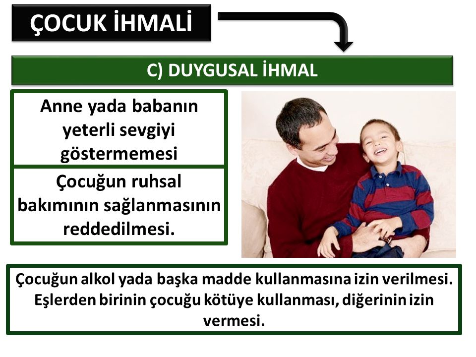 ÇOCUK İHMALİ C) DUYGUSAL İHMAL