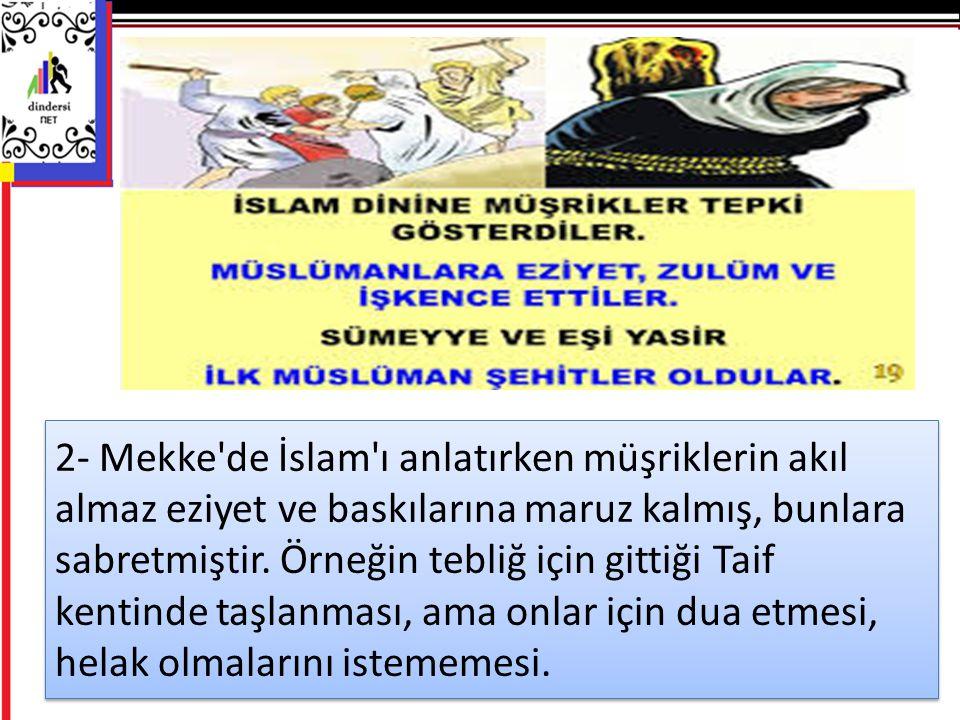 2- Mekke de İslam ı anlatırken müşriklerin akıl almaz eziyet ve baskılarına maruz kalmış, bunlara sabretmiştir.