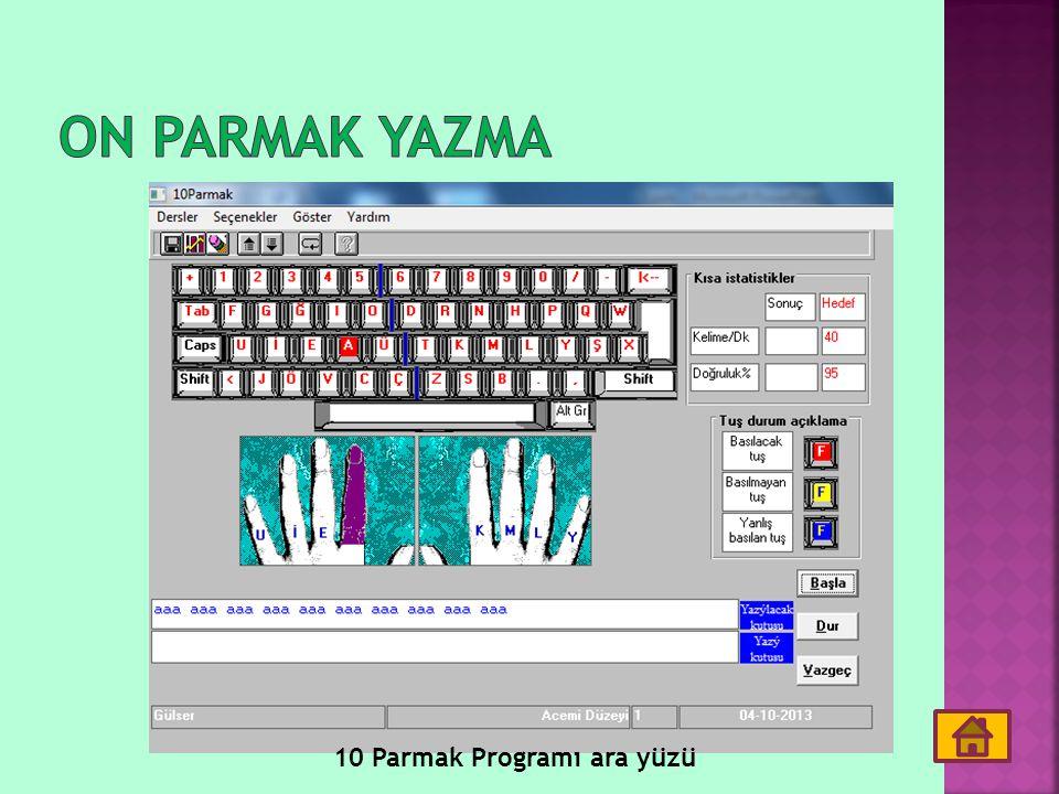 On parmak yazma 10 Parmak Programı ara yüzü