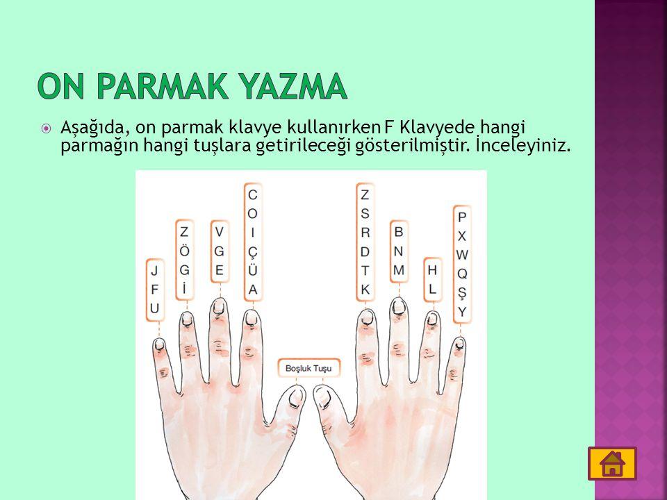 On parmak yazma Aşağıda, on parmak klavye kullanırken F Klavyede hangi parmağın hangi tuşlara getirileceği gösterilmiştir.