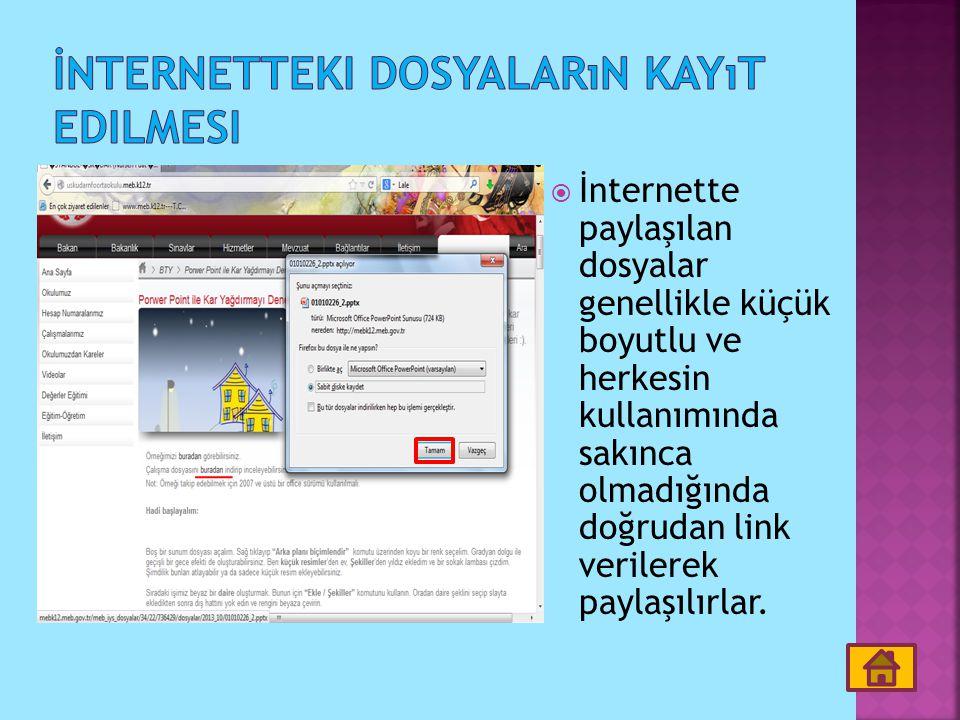 İnternetteki dosyaların kayıt edilmesi