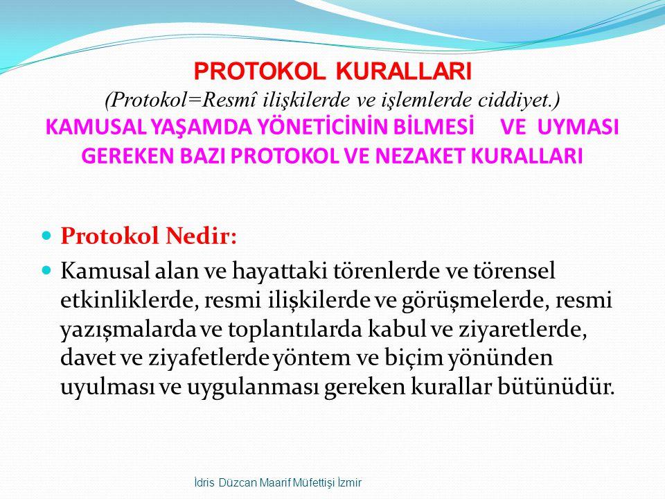 PROTOKOL KURALLARI (Protokol=Resmî ilişkilerde ve işlemlerde ciddiyet