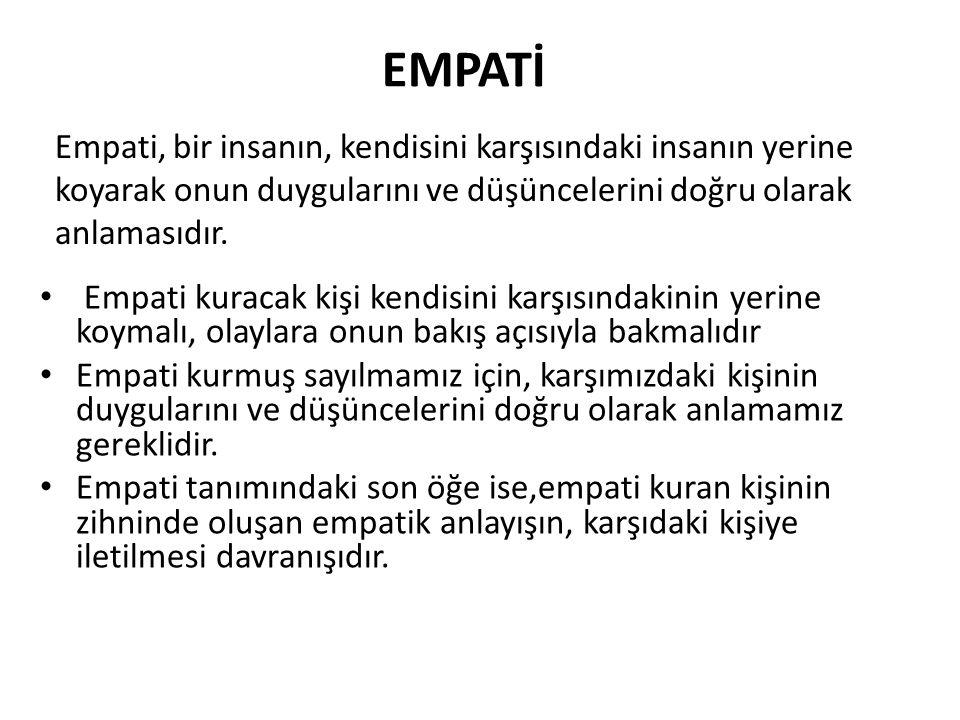 EMPATİ Empati, bir insanın, kendisini karşısındaki insanın yerine koyarak onun duygularını ve düşüncelerini doğru olarak anlamasıdır.