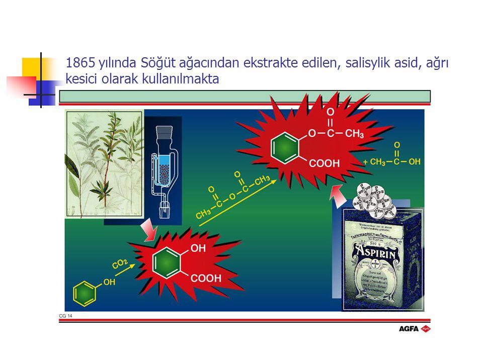 1865 yılında Söğüt ağacından ekstrakte edilen, salisylik asid, ağrı kesici olarak kullanılmakta