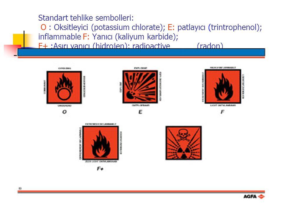 Standart tehlike sembolleri: O : Oksitleyici (potassium chlorate); E: patlayıcı (trintrophenol); inflammable F: Yanıcı (kaliyum karbide); F+ :Aşırı yanıcı (hidrojen); radioactive (radon)