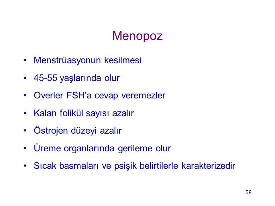 Menopoz Menstrüasyonun kesilmesi 45-55 yaşlarında olur