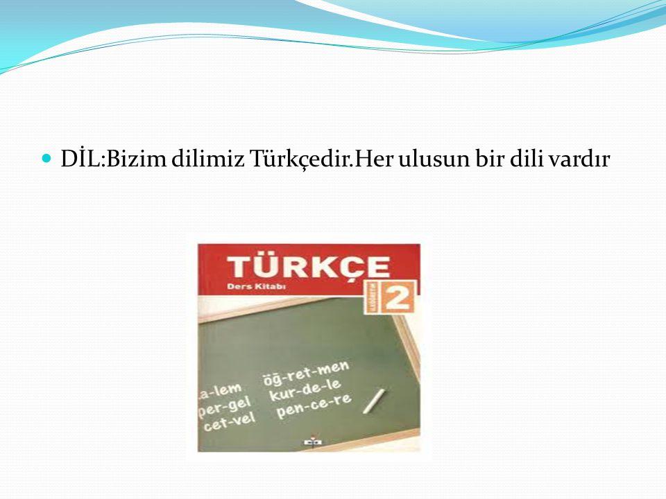 DİL:Bizim dilimiz Türkçedir.Her ulusun bir dili vardır