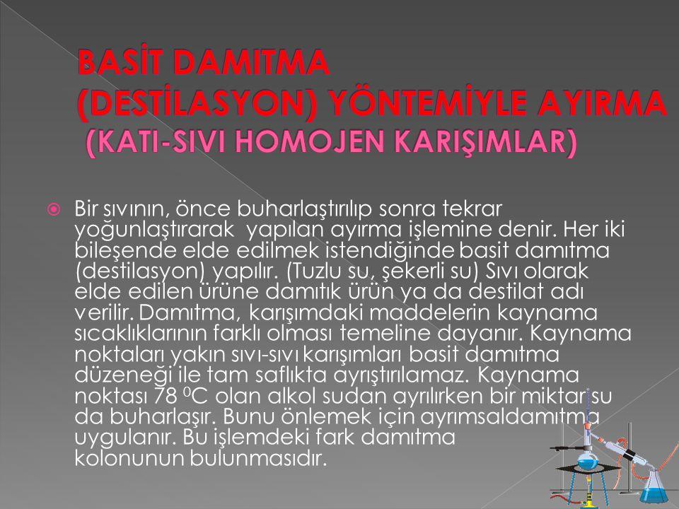 BASİT DAMITMA (DESTİLASYON) YÖNTEMİYLE AYIRMA (KATI-SIVI HOMOJEN KARIŞIMLAR)