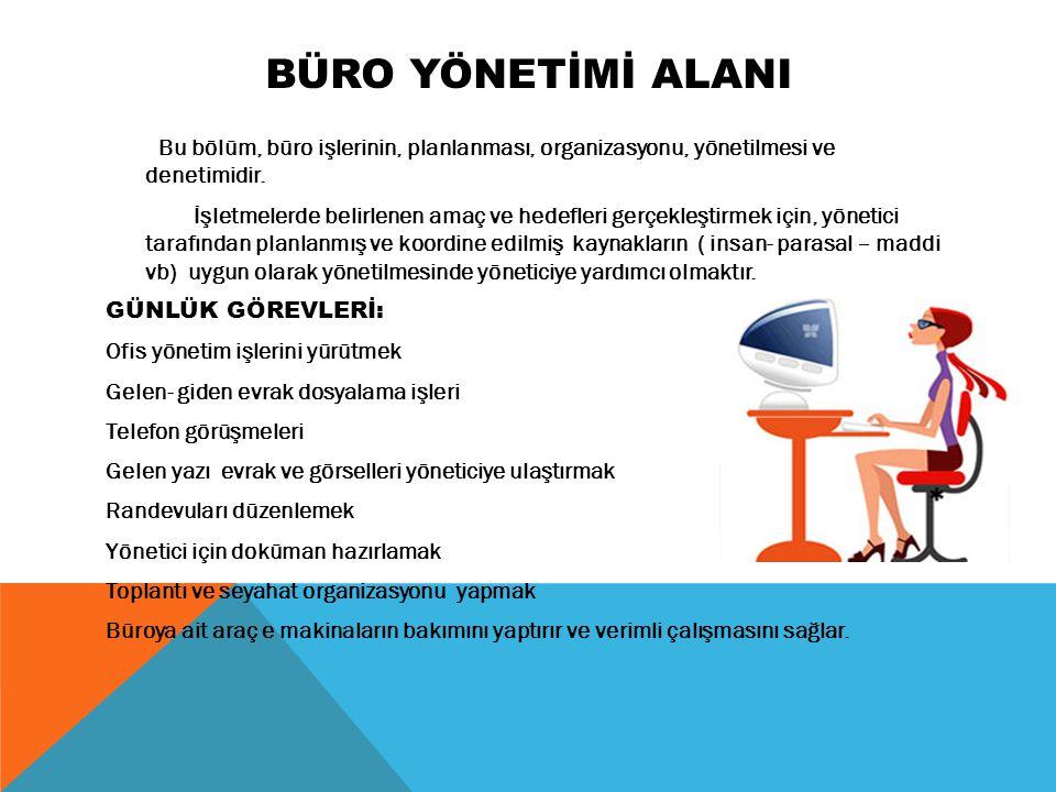 Büro YÖNETİMİ ALANI Bu bölüm, büro işlerinin, planlanması, organizasyonu, yönetilmesi ve denetimidir.