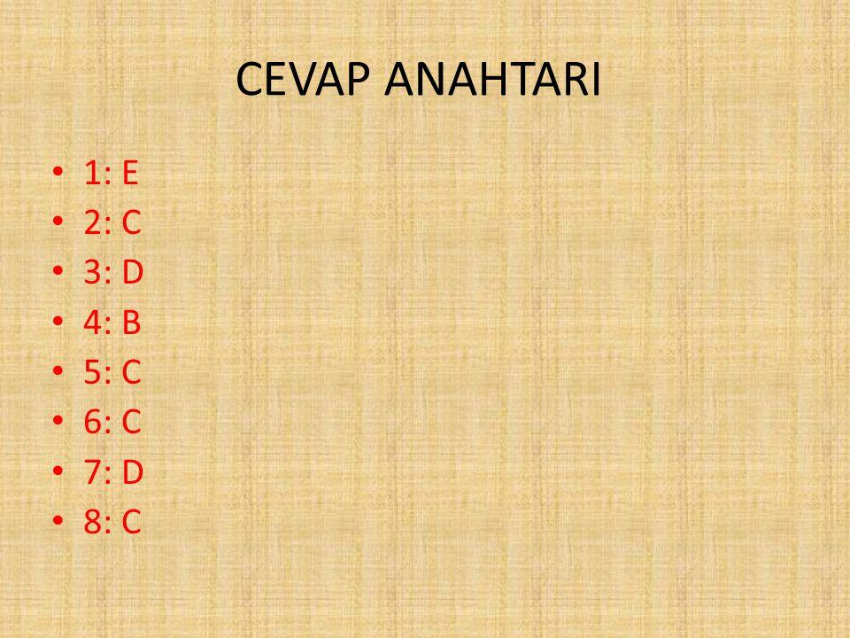 CEVAP ANAHTARI 1: E 2: C 3: D 4: B 5: C 6: C 7: D 8: C