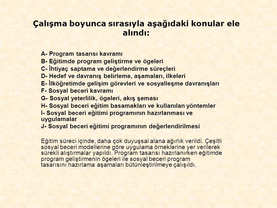 Çalışma boyunca sırasıyla aşağıdaki konular ele alındı: