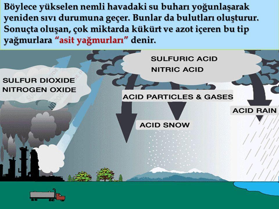 Böylece yükselen nemli havadaki su buharı yoğunlaşarak yeniden sıvı durumuna geçer.