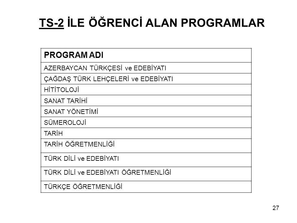 TS-2 İLE ÖĞRENCİ ALAN PROGRAMLAR