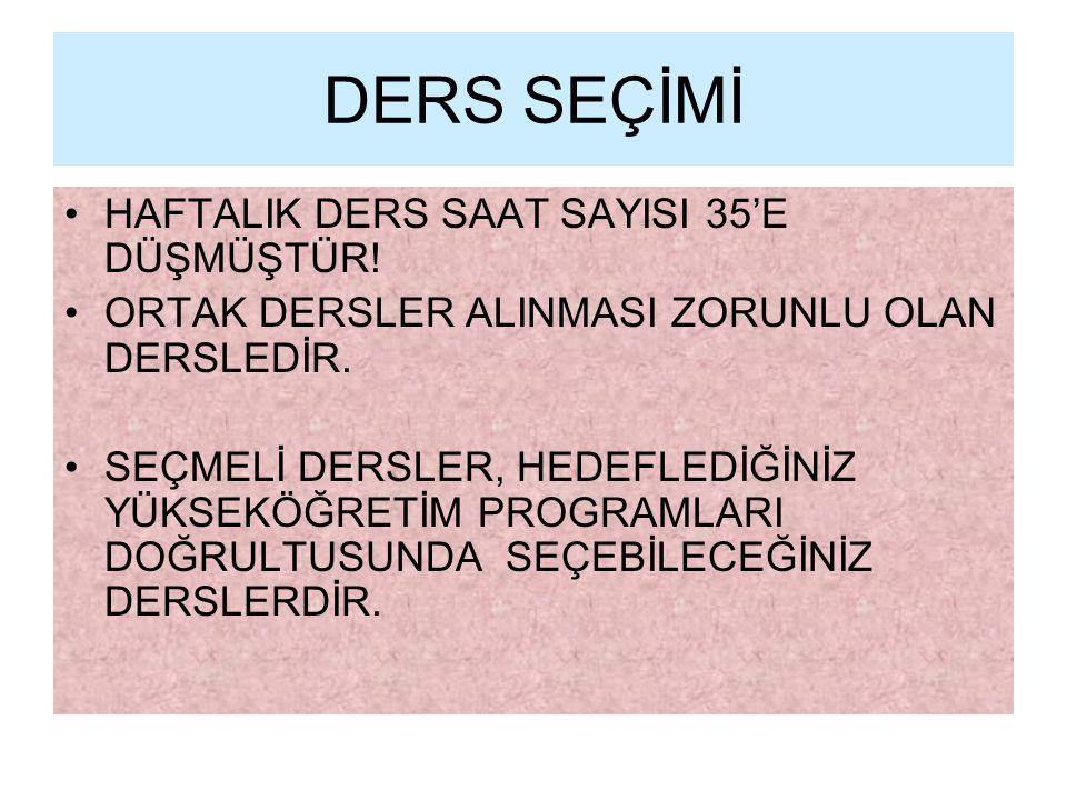 DERS SEÇİMİ HAFTALIK DERS SAAT SAYISI 35'E DÜŞMÜŞTÜR!