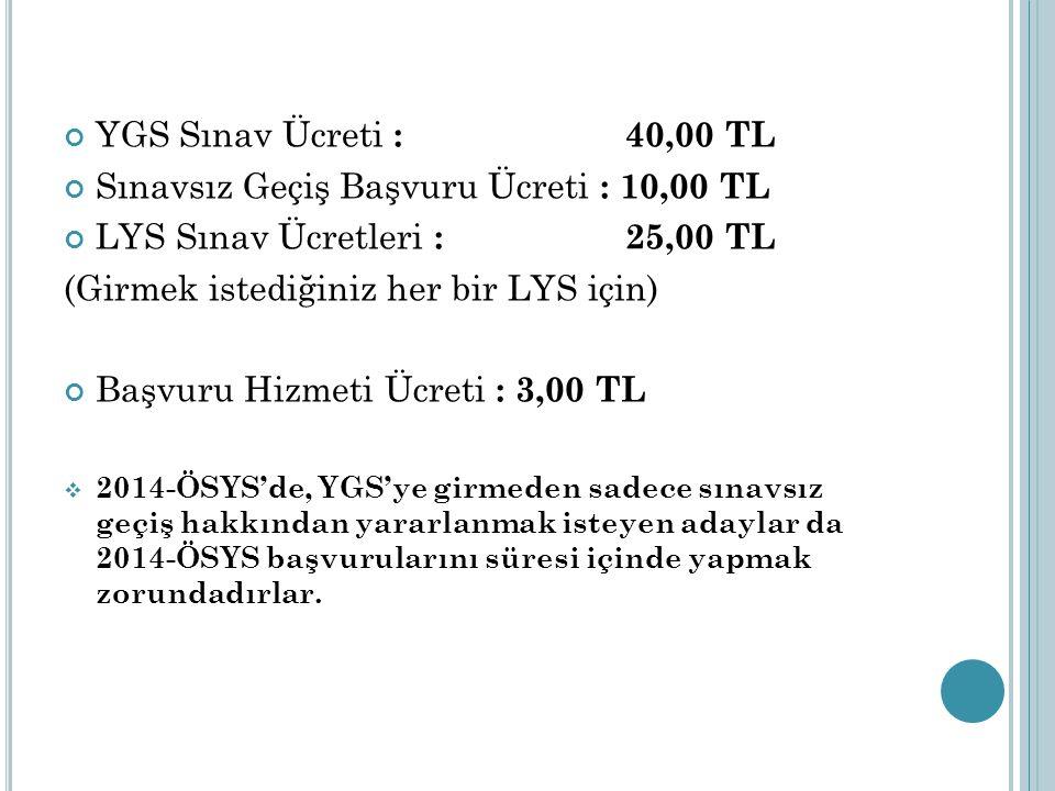 Sınavsız Geçiş Başvuru Ücreti : 10,00 TL