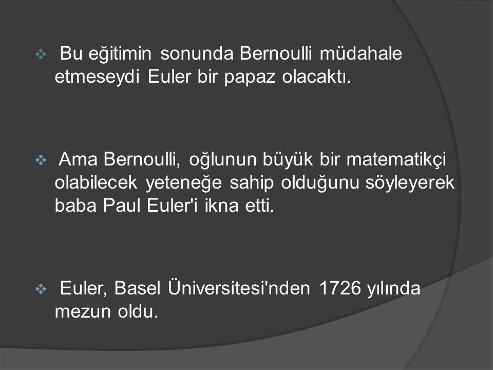 Bu eğitimin sonunda Bernoulli müdahale etmeseydi Euler bir papaz olacaktı.