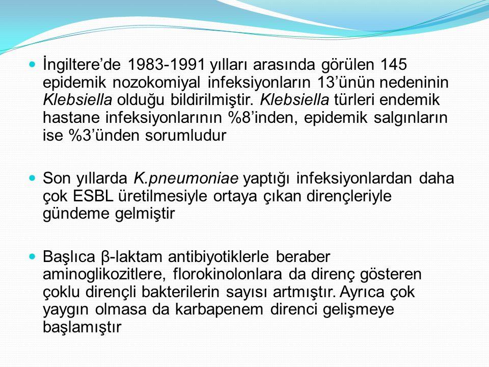 İngiltere'de 1983-1991 yılları arasında görülen 145 epidemik nozokomiyal infeksiyonların 13'ünün nedeninin Klebsiella olduğu bildirilmiştir. Klebsiella türleri endemik hastane infeksiyonlarının %8'inden, epidemik salgınların ise %3'ünden sorumludur