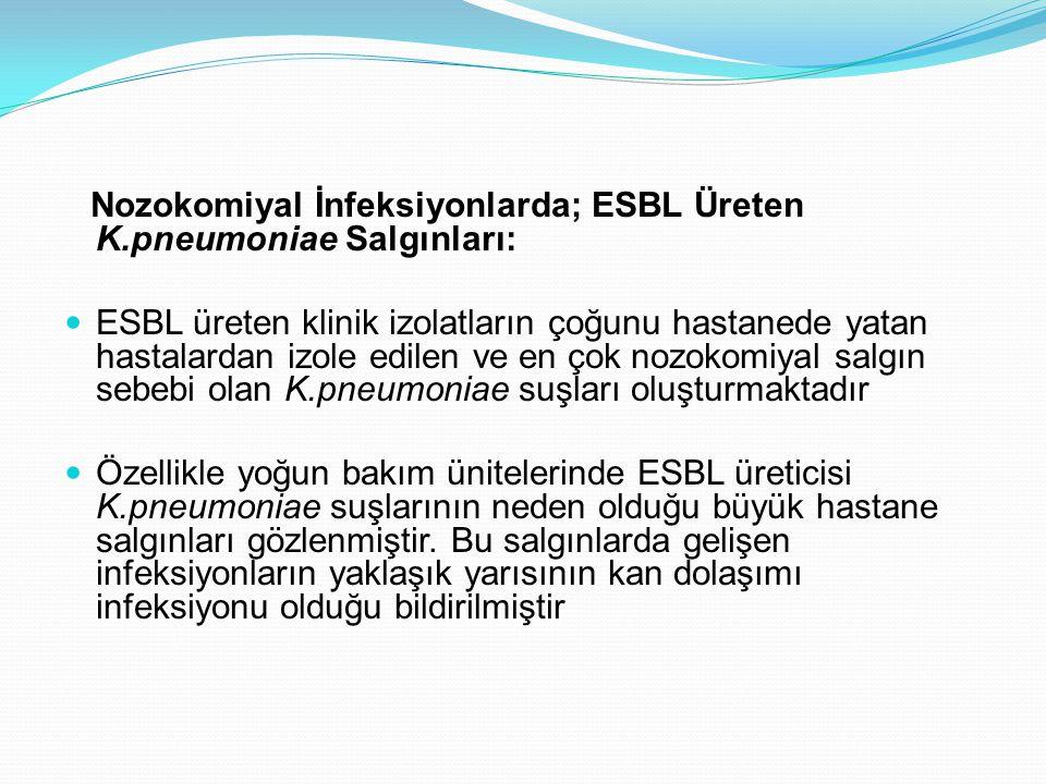 Nozokomiyal İnfeksiyonlarda; ESBL Üreten K.pneumoniae Salgınları: