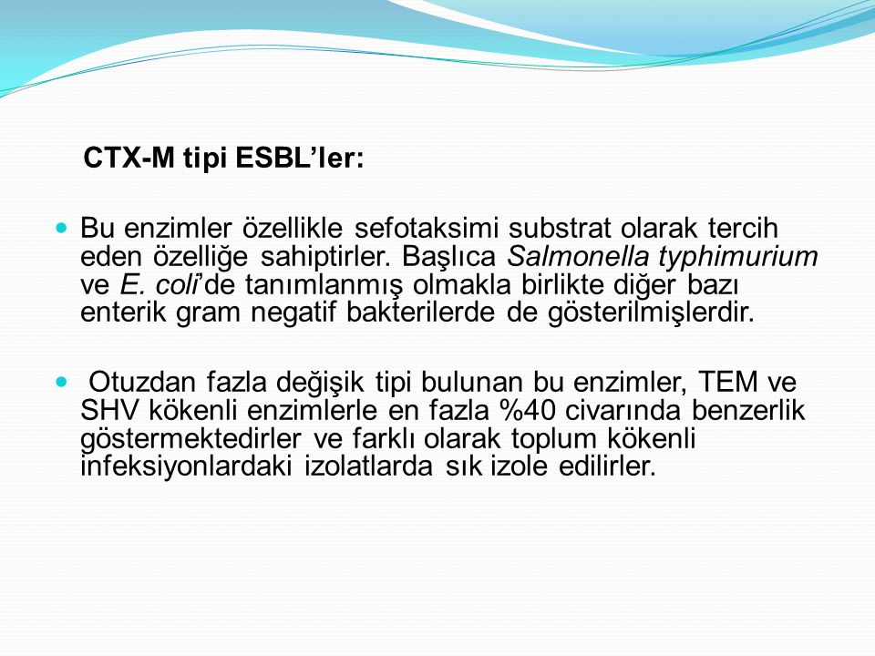 CTX-M tipi ESBL'ler:
