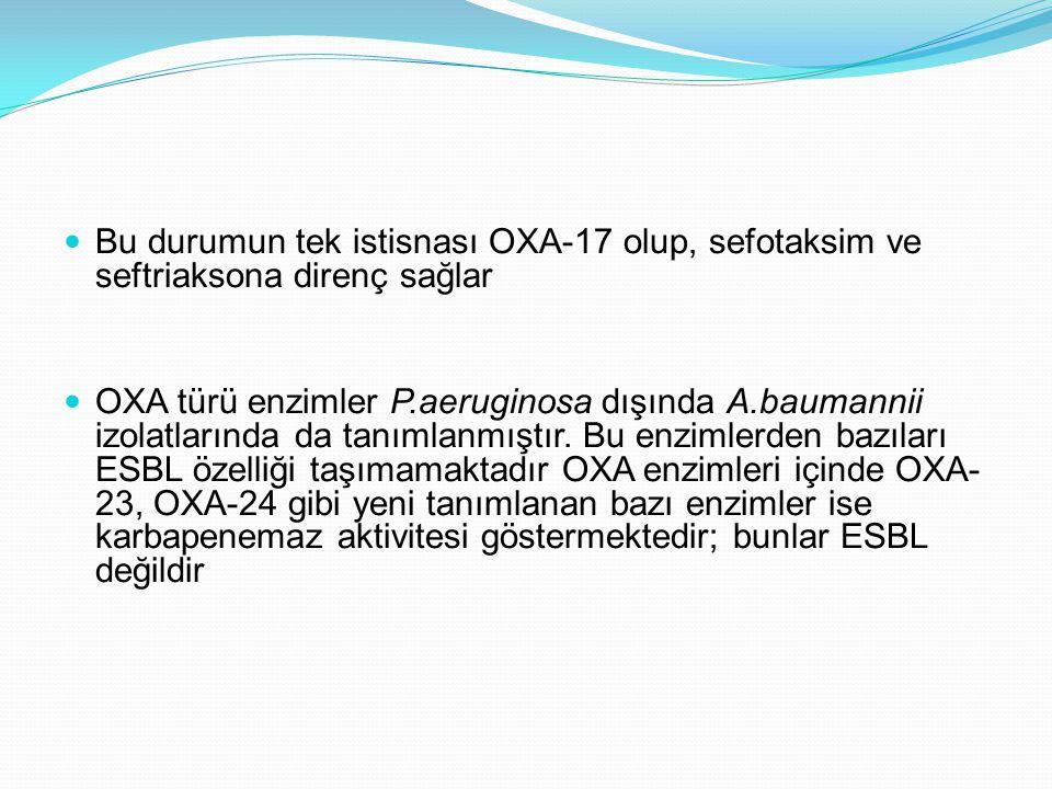 Bu durumun tek istisnası OXA-17 olup, sefotaksim ve seftriaksona direnç sağlar