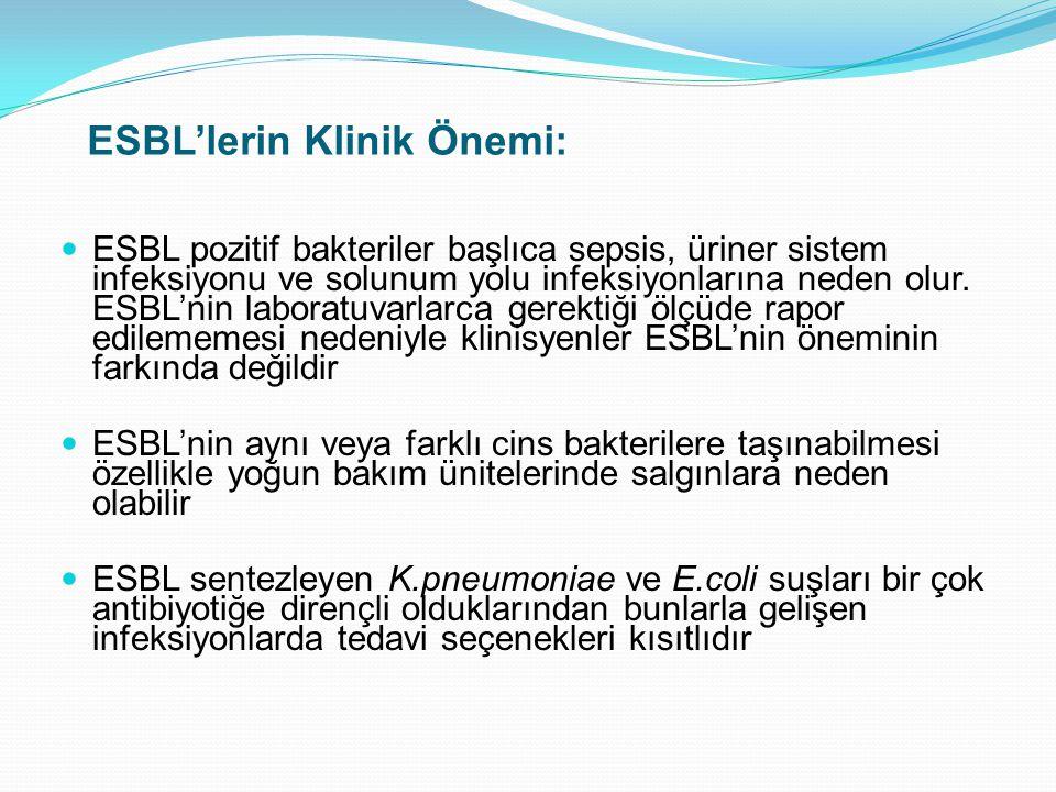 ESBL'lerin Klinik Önemi: