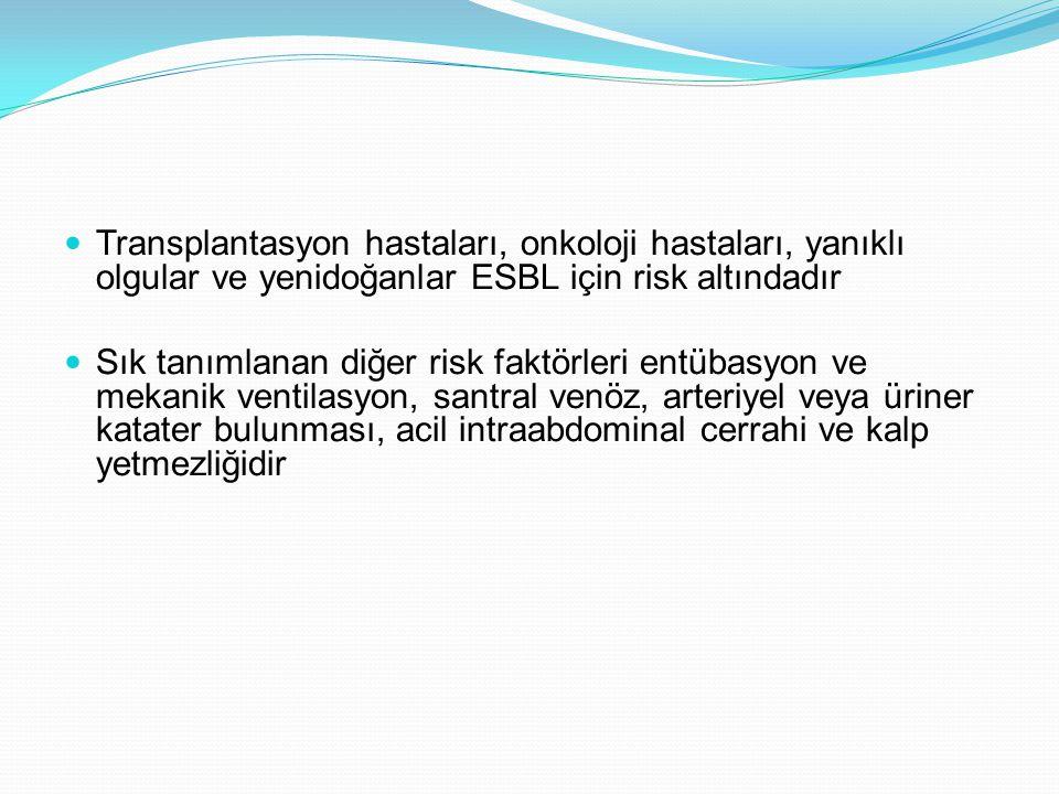 Transplantasyon hastaları, onkoloji hastaları, yanıklı olgular ve yenidoğanlar ESBL için risk altındadır