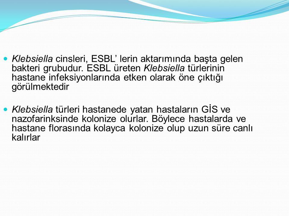 Klebsiella cinsleri, ESBL' lerin aktarımında başta gelen bakteri grubudur. ESBL üreten Klebsiella türlerinin hastane infeksiyonlarında etken olarak öne çıktığı görülmektedir