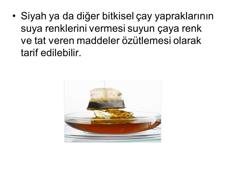 Siyah ya da diğer bitkisel çay yapraklarının suya renklerini vermesi suyun çaya renk ve tat veren maddeler özütlemesi olarak tarif edilebilir.