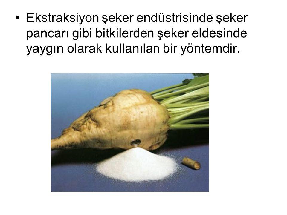 Ekstraksiyon şeker endüstrisinde şeker pancarı gibi bitkilerden şeker eldesinde yaygın olarak kullanılan bir yöntemdir.