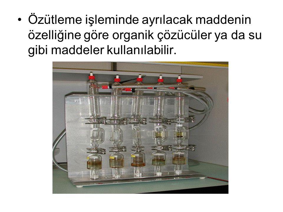 Özütleme işleminde ayrılacak maddenin özelliğine göre organik çözücüler ya da su gibi maddeler kullanılabilir.