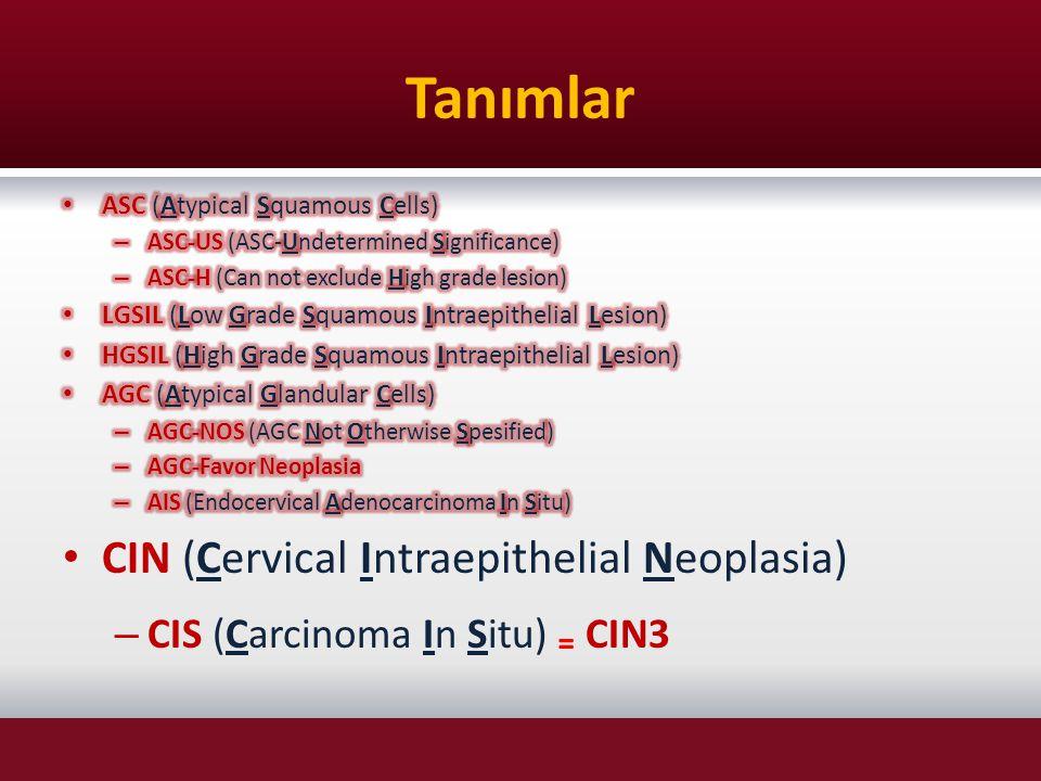 Tanımlar CIN (Cervical Intraepithelial Neoplasia)