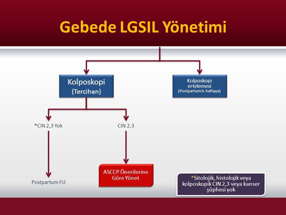 Gebede LGSIL Yönetimi Kolposkopi (Tercihan)
