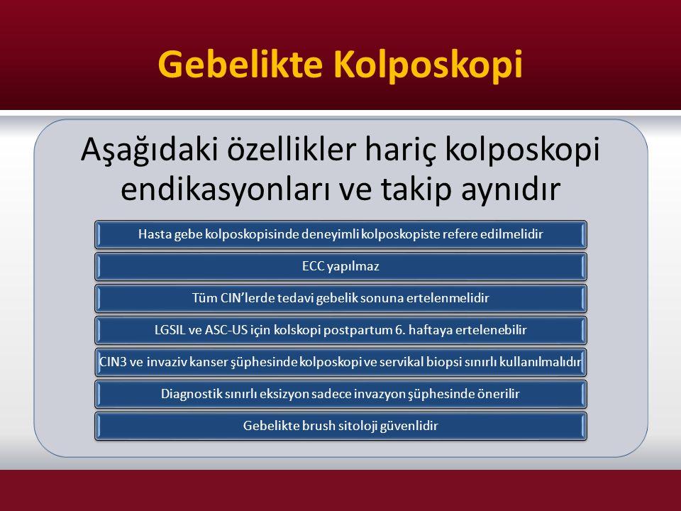 Gebelikte Kolposkopi Aşağıdaki özellikler hariç kolposkopi endikasyonları ve takip aynıdır.
