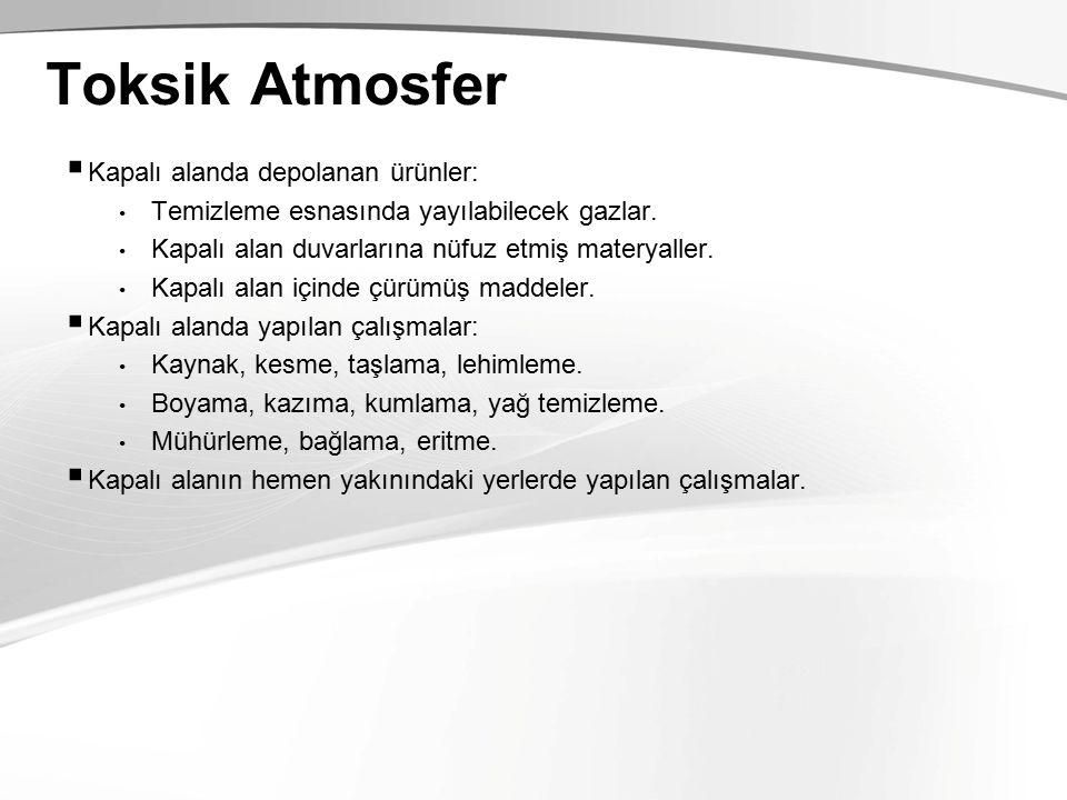 Toksik Atmosfer Kapalı alanda depolanan ürünler: